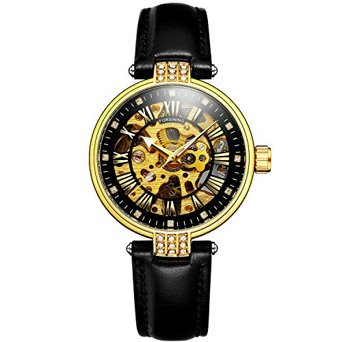 Sweetbless Wristwatch Women' s Analog Roman Number Skeleton Crystal Self-Wind Auto Mechanical Leather Watch Black