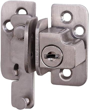 Cerradura de puerta de acero inoxidable 201 con llave para puerta corredera, montaje en superficie, cerraduras de hardware: Amazon.es: Bricolaje y herramientas