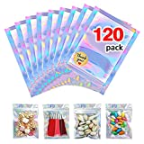 AMORIX 120pcs Resealable Mylar Ziplock Bags 6x8 inch Foil Smell Proof Bags for Lip Gloss Packaging Food Storage Party Favor Jewelry, Holographic Rainbow Color + Free Stickers