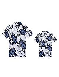 Matching Father Son Hawaiian Luau Outfit Men Boy Shirts White Navy Floral