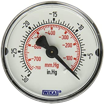 WIKA 9692784 Commercial Pressure Gauge Dry Filled Copper Alloy Wetted Parts 2quot