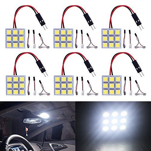 Dome Interior Car (Everbrightt 6-Pack Cool White 5050 9SMD Led Panel Dome Light Auto Car Reading Interior Lamp DC 12V With T10 / BA9S / Festoon Adapters)