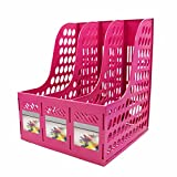 Magazine File Holder,SAYEEC Sturdy Desktop Triplicate Magazine Literature Plastic Holders Frames File Dividers Document Cabinet Rack Display and Storage Organiser Box Green (Pink)