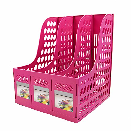 Magazine File Holder,SAYEEC Sturdy Desktop Triplicate Magazine Literature Plastic Holders Frames File Dividers Document Cabinet Rack Display and Storage Organiser Box Green (Pink)