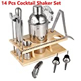 Leoneva 14 Piece Stainless Steel Cocktail Shaker Set Bartender Kit Bar Tools Barware