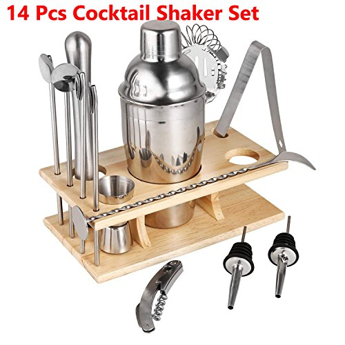 Leoneva 14 Piece Stainless Steel Cocktail Shaker Set Bartender Kit Bar Tools Barware by Leoneva