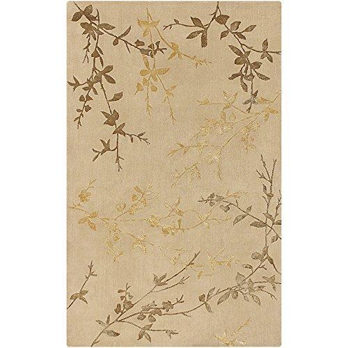 (Surya Tamira TAM-1004 Transitional Hand Tufted 100% Wool / Viscose Dark Beige 5' x 8' Floral Area)