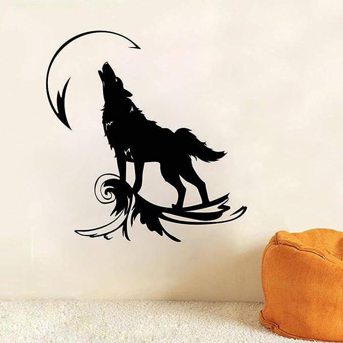 jiushixw Tatuajes de Pared Lobo Aullando a la Luna Etiqueta de la Pared Decoración del hogar Tatuajes de Pared para Mentes mágicas Lobo Animal Salvaje Vinilo Ay 57x60cm: Amazon.es: Hogar