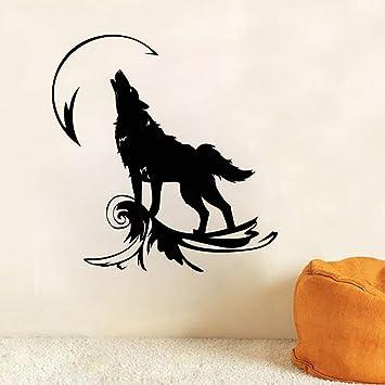 jiushixw Tatuajes de Pared Lobo Aullando a la Luna Etiqueta de la ...