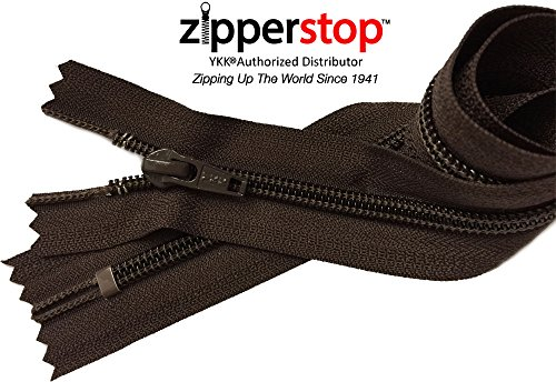 (ZipperStop Wholesale Authorized Distributor YKK - Boot Zipper Solution YKK #5 Nylon Coil with Auto Lock Slider - Closed Bottom Color Brown (18 Inches))