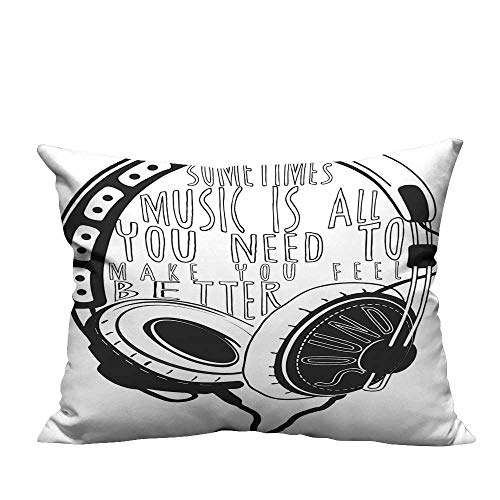 (YouXianHome Pillowcase with Zipper Headphones Industrial Design Sketch with Quote Audio Sound Stereo Scribble Black White Ultra Soft & Hypoallergenic (Double-Sided Printing) 13.5x19 inch)