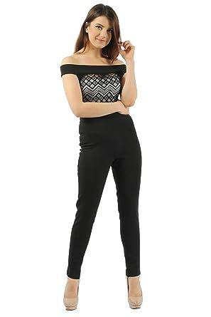 4c6a109a9e0f Missi London Women s Lace Bardot Black Sleeveless Jumpsuit (10 ...