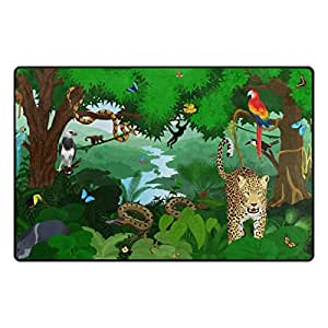 U LIFE Vintage Wild Forest Animals Birds Tiger World Snake Large Doormats Area Mats Runner Floor Mat Cover Carpet for Entrance Way Living Room Bedroom Kitchen Office 72 x 48 Inch