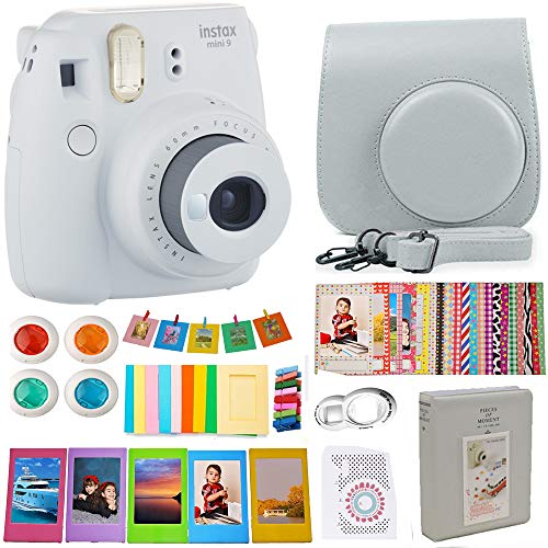 Fujifilm Instax Mini 9 Instant Camera Smoky White Bundle Includes Carrying Case + Frames + Photo Album + 4 Color Filters and More Accessories Kit