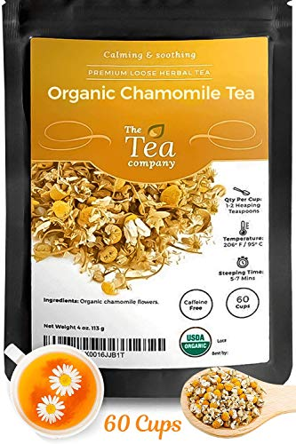 Organic Chamomile Tea with Whole Dried Flowers Makes 60 Cups - Herbal Tea in Bulk Calming Loose Leaf Teas for Bedtime Relaxation by The Tea Company 4oz