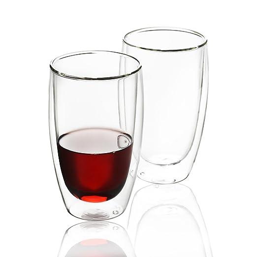 BANFANG - Juego de 2 tazas de café de cristal de doble pared ...