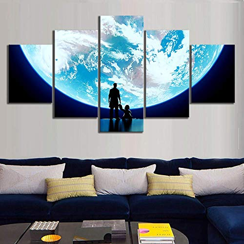 5 Piece Super Moon Pictures Game Wall Art Home Decor for Living Room HD Prints,A,30×40×2+30×60×2+30×80×1 ()