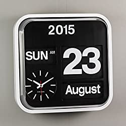 Present Time Karlsson Calendar Clock Big Flip, White