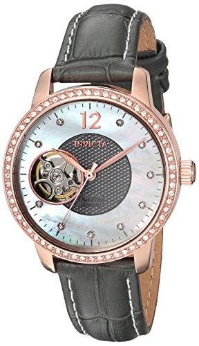 Invicta Women's 'Objet D Art' Automatic Gold and Leather Casual Watch, Color:Grey (Model: 22623) (Leather Rose Invicta Gold Watch)