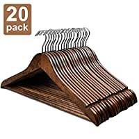 HOUSE DAY Wooden Hangers 20 Pack Wooden Clothes Hanger Wooden Coat Hanger Bulk Walnut Smooth Finish Premium Wooden Hanger for Clothes Dress Suit