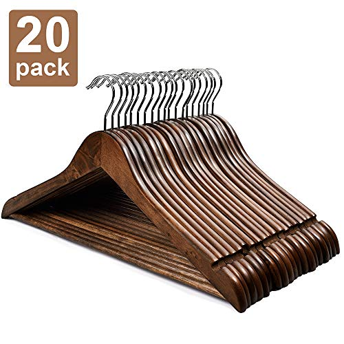 HOUSE DAY Wooden Hangers 20 Pack Wooden Clothes Hanger Wooden Suit Hangers Walnut Smooth Finish Premium Wood Hangers for Clothes Pants Jeans ()