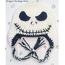 Crochet Jack Skellington Flap Hat, Halloween Hat, The Nightmare Before Christmas Hat, skull face hat, all sizes