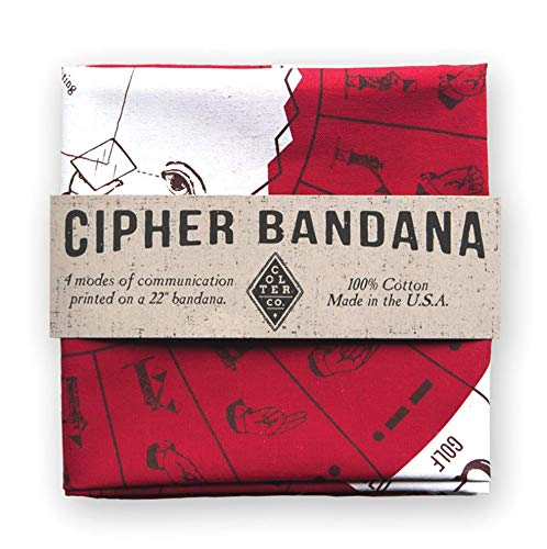 Survival Bandana for Camping, Hiking, Fishing | 100% Cotton Red Bandana with Morse Code, Sign Language, Signal Mirror, Ham Radio Reference Guide | Made in The USA