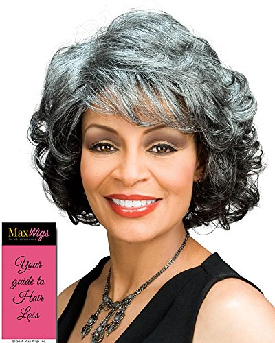 (Barbara Wig Color 280 - Foxy Silver Wigs Curly Shag Wispy Synthetic Medium Length African American Women's Machine Wefted Lightweight Average Cap Bundle with MaxWigs Hairloss)