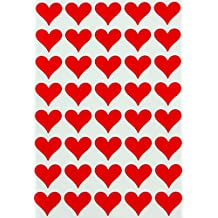 Royal Green Red Heart Sticker Envelopes Seal - Decorative labels for stationery, paperwork and arts Permanent adhesive color coding labels - 200 pack