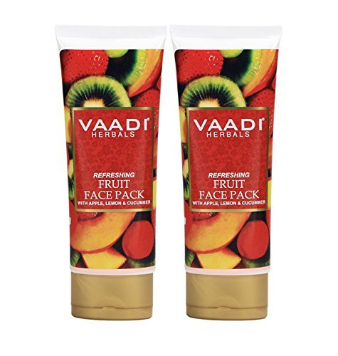 Refreshing Fruit Face Pack with Apple, Lemon & Cucumber - Herbal Face Pack - ALL Natural - Paraben Free - Sulfate Free - Suitable for Both Men and Women - Good for All Skin Types (Oily, Glowing, Dry, Normal, Combination, Sensitive) - 120gms (4.25 Ounces) - Vaadi Herbals