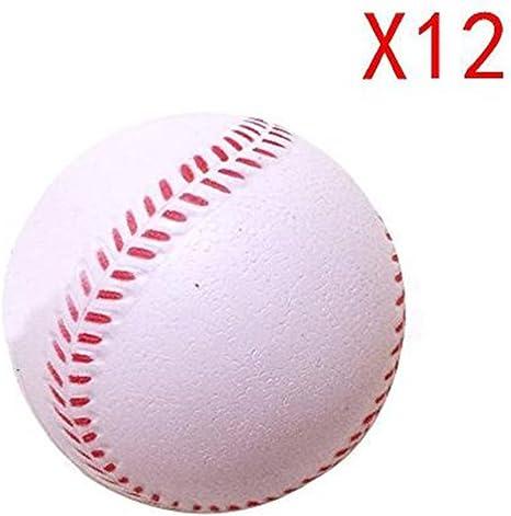 kregis deportes goma suave pelotas de béisbol pelotas de práctica de bateo formación tamaño estándar de béisbol blanco – Pack de 12, Blanco: Amazon.es: Deportes y aire libre