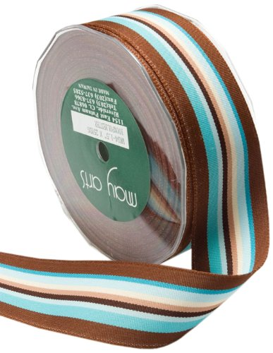 May Arts 5/8-Inch Wide Ribbon, Turquoise and Brown Grosgrain Stripes by May Arts