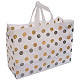 Frosted Plastic Polka Dot Bags Shopping Gift Goodies 16x6x12 Merchandise Shop Silver/Gold Pack of 250 NEW
