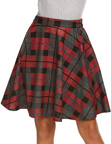 Hotouch Plaid Winter Warm Flare A-line Skirt High Elastic Waist Knee Length Wool Blend Skirt Red XL (Red Plaid Wool Skirt)