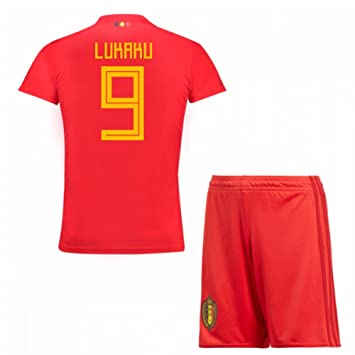 29c0ea7c6d3 UKSoccershop 2018-19 Belgium Home Mini Kit (Romelu Lukaku 9): Amazon ...