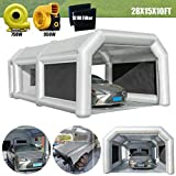LuckyWe Inflatable Spray Booth Car Paint Room Large Spray Tent 28x15x10FT with 2 Blowers Painting Booth for Spray Paint Car Parking Tent Portable Garage with Filter System