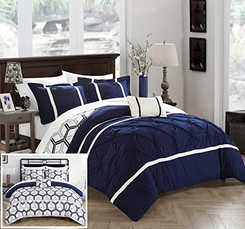 Chic Home Marcia 4 Piece Reversible Comforter Set Super Soft Microfiber Pinch Pleated Ruffled Design with Geometric Patterned Print Bedding with Decorative Pillows Shams, King Navy (Patterned Bedding Sets)