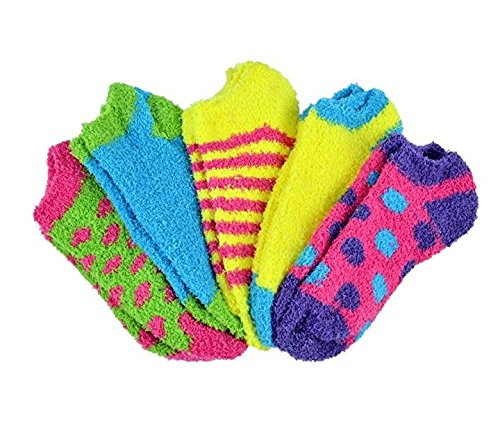Butter Toes No-Show Fuzzy Socks 5-Pair Pack Assorted Colors (Style - (Fuzzy Ankle Socks)
