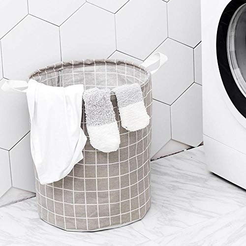 LAYOPO Waterproof Collapsible Canvas Laundry Hamper Bucket with Handles, Foldable Coating Ramie Cotton Fabric Dirty Clothes Basket for Storage Bin,Kids Room,Home Organizer,Nursery Storage