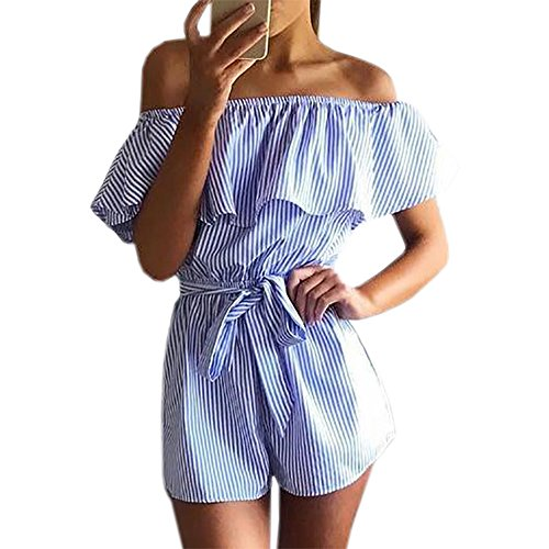 Roselux Women's Striped Ruffle Sleeveless Off Shoulder Tie Front Sexy Short Rompers Jumpsuit(Blue,S)