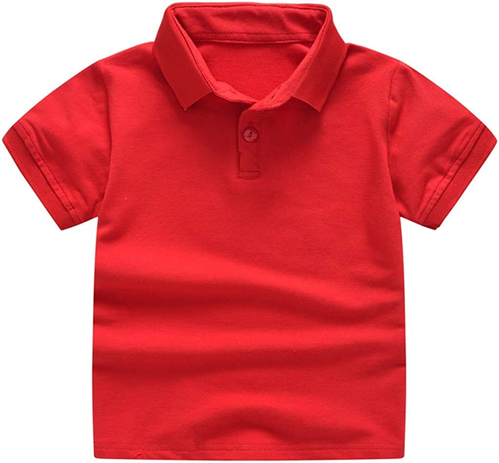 Baby Unisex Shirt,Fineser Toddler Kids Baby Girls Boys Short Sleeve Button Up Collar Classic Solid T-Shirt Tee Tops 1-6Y
