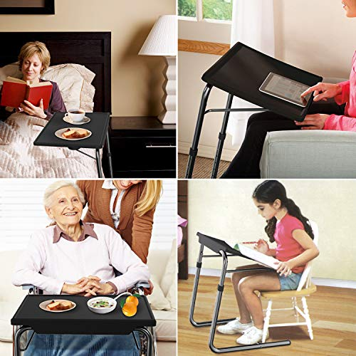 Adjustable TV Tray Table - TV Dinner Tray on Bed & Sofa, Comfortable Folding Table with 5 Height & 3 Tilt Angle Adjustments, Laptop Table with Built-in Cup Holder (1 Pack, Black) by HUANUO (Image #1)