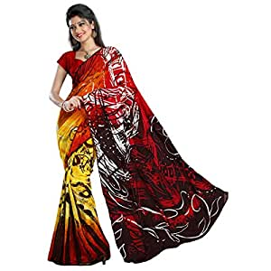 Shilp-Kala Faux Georgette Printed Yellow Colored Sarees SKN43006B