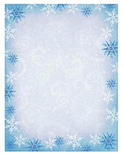 amazon com blue snowflake stationery paper 80 ct office products