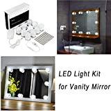 Bedroom Makeup Vanity with Lights WanEway Hollywood Style LED Vanity Mirror Light Kit for Makeup Cosmetic Dressing Table with Dimmer and Power Supply, Plug-in Bathroom Mirror Lighting Fixture Wall Lamp,13.5ft, Mirror Not Included