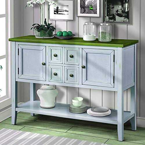 P PURLOVE Console Table Buffet Table Sideboard with Four Storage Drawers Two Cabinets and Bottom Shelf Blue