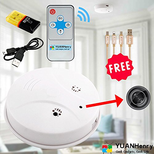 Smoke Detector Camera Hidden Spy Cam, YUANHenry HD 1080P Motion Detection Activated Mini Video Recorder Security Cameras DVR Loop Video Recorder with Gift 3 in 1 Charging Cable Digital Surveillance Recorder