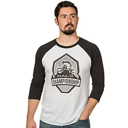 JINX Halo Men's Championship Series Raglan Tri-Blend Shirt (Vintage Black/Heather White, XXX-Large) ()