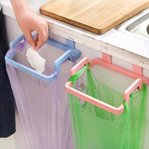 Kitchen Cabinet Hanging Rubbish Bag Holder Garbage Storage Rack Cupboard Hanger green color