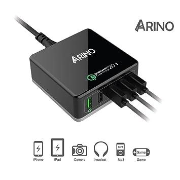 Arino [Qualcomm Quick Charge 2.0] Cargador rápido Función de carga carga USB 3.1 Type C Hub 40 W de 5 Puerto Adaptador de carga (75% más rápido carga) ...